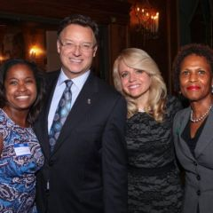 Kenya Jenkins-Wright, ISBA Past President John G. Locallo, and Hon. Diane Shelley of the Circuit Court of Cook County congratulate Michele Jochner.
