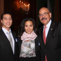 Awardee Hon. William H. Hooks (far right), is congratulated by his daughter, Ashley Hooks, and her fiance, attorney Kyle Williams.