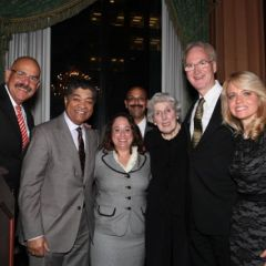 The two honorees of the Hon. Mary Ann G. McMorrow Service to the Profession Award, Hon. William H. Hooks (far left) and Michele M. Jochner (far right) are congratulated by Chief Judge Timothy C. Evans of the Circuit Court of Cook County; Deidre Baumann, Event Chair; Pierre W. Priestly, Justice of the Chicago Alumni Chapter; Hon. Mary Ann G. McMorrow (ret.), the namesake of the award; and John K. Norris, Justice of Phi Alpha Delta District XI.
