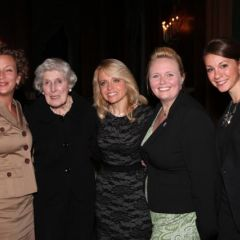 Justice Mary Ann G. McMorrow (Ret.)(second from left) and honoree Michele Jochner (center), visit with three DePaul University College of Law students Michele has mentored and who introduced her at the event: Kimberley Voichescu, Leah Farmer and Theresa Dollinger.