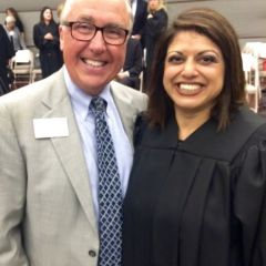 ISBA President Umberto S. Davi and new Associate Judge the Hon. Geraldine A. D'Souza
