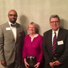 ISBA President Vincent F. Cornelius (left) with honorees Lois Wood, Executive Director of the Land of Lincoln Legal Assistance Foundation, and J. William Lucco of Lucco, Brown, Threlkeld & Dawson, LLP.