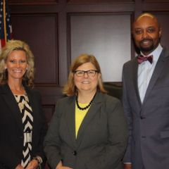 ISBA President Vincent F. Cornelius with former ISBA Board member Hon. April G. Troemper (left) and SIU School of Law Dean Cynthia L. Fountaine.