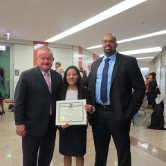 Hon. Russell Hartigan, Karina Mejia, and Jimmy Covington