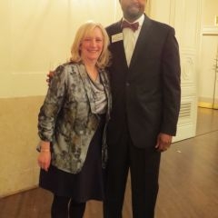 Lori Levin and Vincent Cornelius at the welcome reception