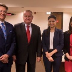 John Locallo, Judge Hartigan, Maliha Siddiqui, and Jenna DiJohnat ISBA Day at DePaul University College of Law.