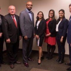 Shannon Schaab, Judge Hartigan, Vincent Cornelius, Jennifer Rosato Perea, Jenna DiJohn,Maliha Siddiqui, and John Locallo at ISBA Day at DePaul University College of Law.