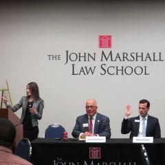Marie Sarantakis, James McCluskey, Mark Palmer, and Katherine O'Dell at ISBA Day at the John Marshall Law School.