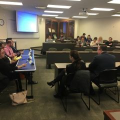 Atanu Das, Andrew Vaughn, William Love, and Judith Deverspeak to an audience of law students at ISBA Day at Loyola University Chicago School of Law.