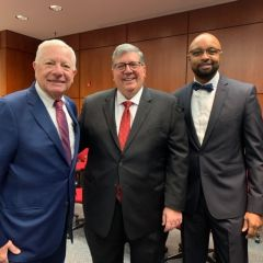 ISBA President David B. Sosin, ISBA Past President Hon. Richard D. Felice, and ISBA Past President Hon. Vincent F. Cornelius