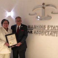 Dr. Mary Milano and ISBA President Dennis Orsey