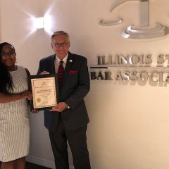 Kenya Jenkins-Wright and ISBA President Dennis Orsey