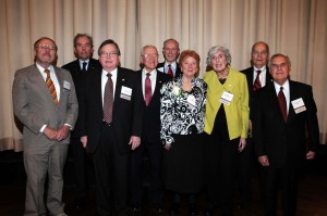 The 2009 class of Laureates includes (from left): Thomas F. Londrigan of Springfield; Russell K. Scott of Belleville; John W. Damisch of Northfield; Joseph L. Stone of Chicago; Sheila M. Murphy of Chicago; Mary Ann G. McMorrow of Chicago; F. Lance Callis of Granite City; and Joseph M. Laraia of Wheaton.